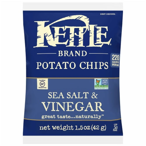 Kettle Sea Salt and Vinegar Potato Chips, 1.5 Ounce -- 64 per case. Perspective: front