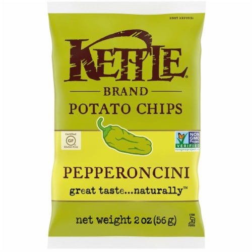 Kettle Foods Pepperoncini Potato Chips, 2 Ounce -- 6 per case. Perspective: front