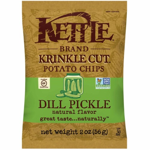 Kettle Foods Dill Pickle Krinkle Cut Potato Chips, 2 Ounce -- 6 per case. Perspective: front