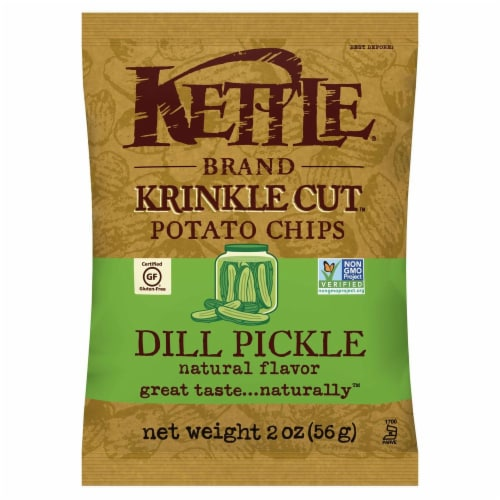 Kettle Brand Gourmet Potato Chips, Dill Pickle, 2.0 Oz. Bag, (24 Count) Perspective: front