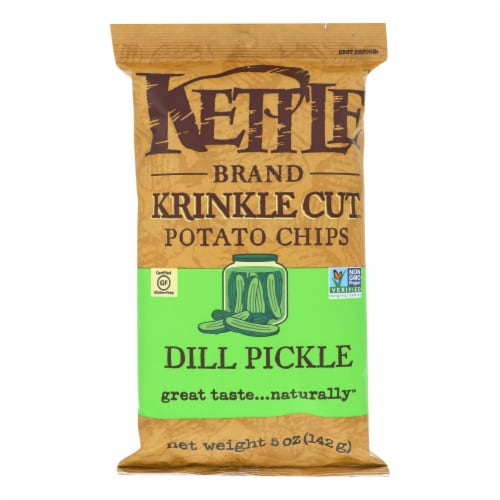 Kettle Brand Krinkle Cut Potato Chips - Dill Pickle - Case of 15 - 5 oz. Perspective: front