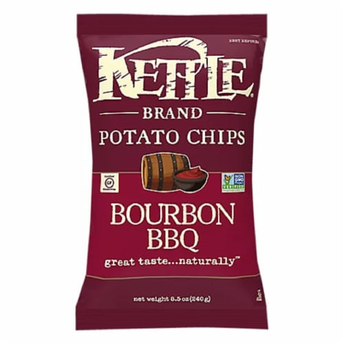 Kettle Brand Bourbon Bbq Potato Chips, 8.5 oz (Pack of 12) Perspective: front