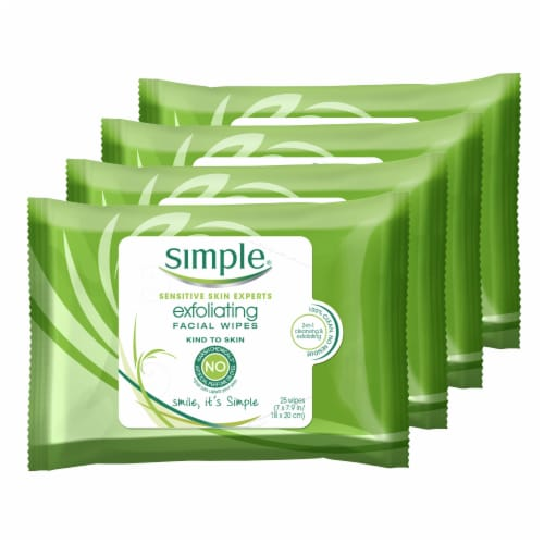 Simple Exfoliating Facial Wipes (4 Pack) Perspective: front
