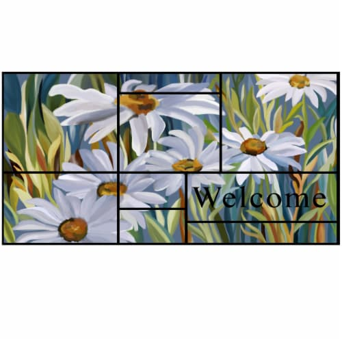 Stephan Roberts 18 IN. X 30 IN. RECYCLED CRUMB RUBBER DOOR MAT (6MM) - DAISIES Perspective: front