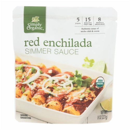 Simply Organic Simmer Sauce - Organic - Red Enchilada - Case of 6 - 8 oz Perspective: front