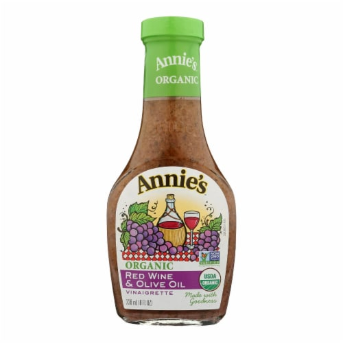 Annie's Naturals Vinaigrette Organic Red Wine and Olive Oil - Case of 6 - 8 fl oz. Perspective: front