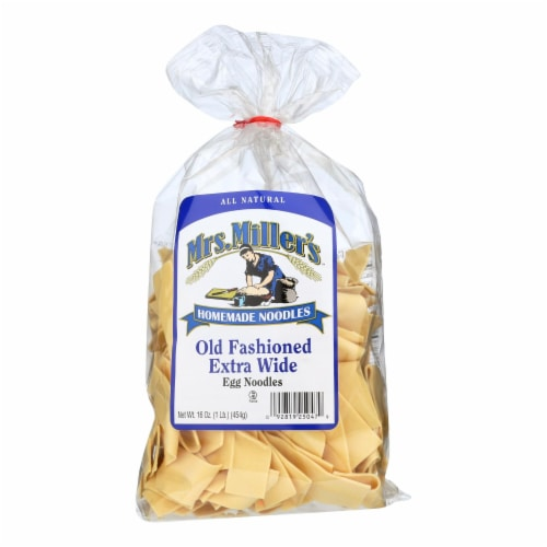 Mrs. Miller's Homemade Noodles - Old Fashioned Extra Wide Egg Noodles - Case of 6 - 16 oz. Perspective: front
