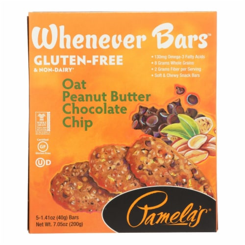 Pamela's Products - Whenever Bars Chocolate Chip - Peanut Oat Butter - Case of 6 - 7.05 oz. Perspective: front