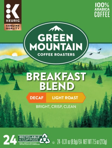 Green Mountain Breakfast Blend Decaf Coffee K-Cup Pods Perspective: front