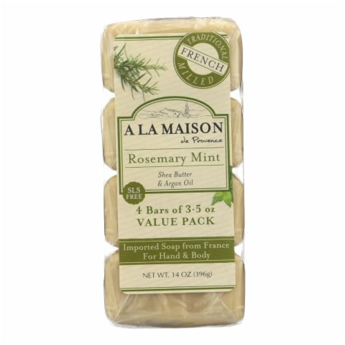 A La Maison - Bar Soap - Rosemary Mint - Value 4 Pack Perspective: front