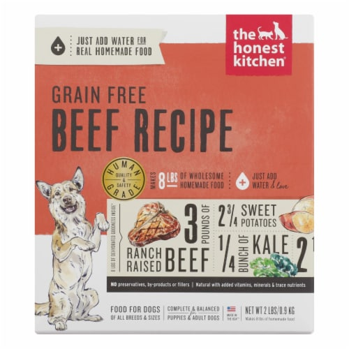 The Honest Kitchen - Dog Food - Grain-Free Beef Recipe - Case of 6 - 2 lb. Perspective: front