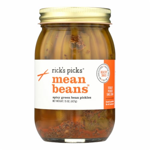 Rick's Picks Mean Bean Pickles - Case of 6 - 15 oz. Perspective: front