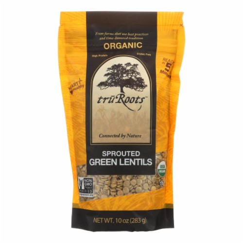 Truroots Organic Green Lentils - Sprouted - Case of 6 - 10 oz. Perspective: front