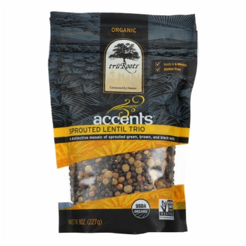 Truroots Organic Trio Lentils - Accents Sprouted - Case of 6 - 8 oz. Perspective: front