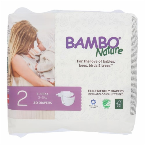 Bambo Nature - Diapers Size 2 7-13 Lbs - Case of 6 - 30 CT Perspective: front