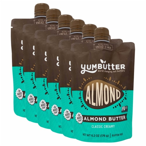 Yumbutter Creamy Almond Butter Squeeze Pouch - No Sugar Added Perspective: front