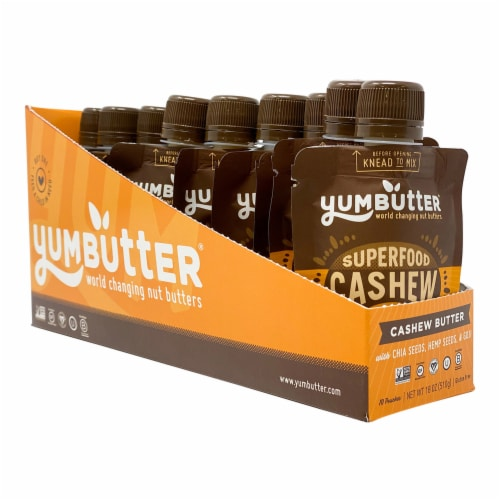 Yumbutter Superfood Cashew Butter - Mini Squeeze Packet Perspective: front