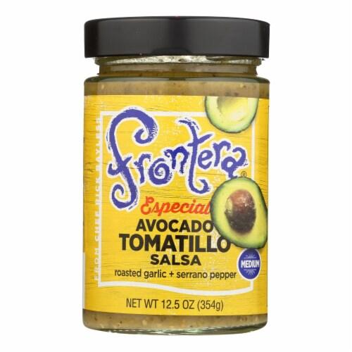 Frontera Foods Salsa - Especial Avocado Tomatillo Salsa-Roasted Garlic n Serrano-6Case-12.5oz Perspective: front