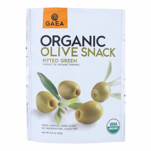Gaea Olives - Organic - Green - Snack Pk - Case of 8 - 2.3 oz Perspective: front