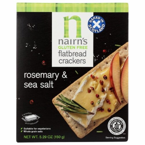Nairn's Gluten Free Flatbread Crackers Rosemary & Sea Salt, 5.29 oz (Pack of 6) Perspective: front
