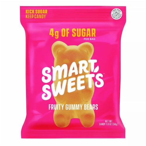 Smart Sweets Fruity Gummy Bears 4g of Sugar Per Bag, 1.8oz Pack of 12) Perspective: front