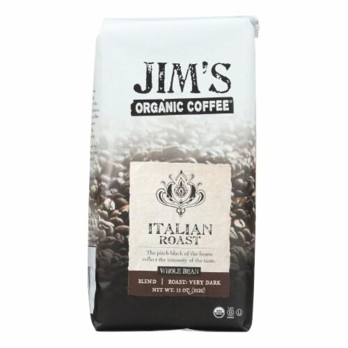 Jim's Organic Coffee - Whole Bean - Italian Roast - Case of 6 - 11 oz. Perspective: front