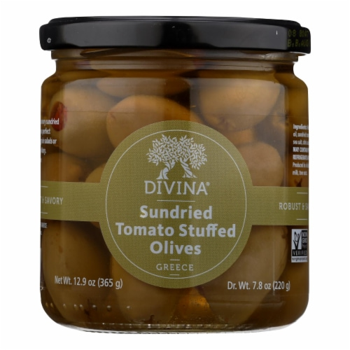 Divina - Olives Stuffed with Sundried Tomatoes - Case of 6 - 7.8 oz. Perspective: front
