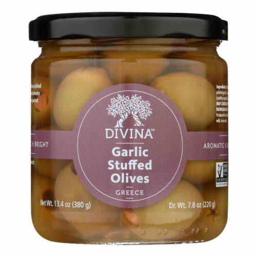 Divina - Green Olives Stuffed with Garlic - Case of 6 - 7.8 oz. Perspective: front
