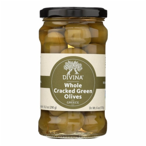 Divina - Cracked Green Olives - Case of 6 - 6.14 oz. Perspective: front