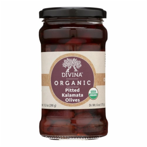 Divina - Organic Pitted Kalamata Olives - Case of 6 - 6 oz. Perspective: front