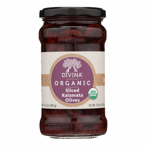 Divina - Organic Olives - Kalamata Sliced - Case of 6 - 5.6 oz. Perspective: front