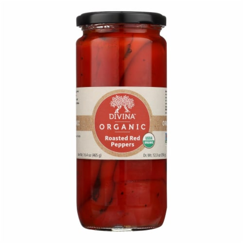 Divina, Organic Fire Roasted Sweet Peppers  - Case of 6 - 16.2 OZ Perspective: front