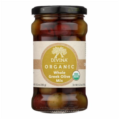 Divina - Organic Greek Mixed Olives - Case of 6 - 6.35 oz. Perspective: front