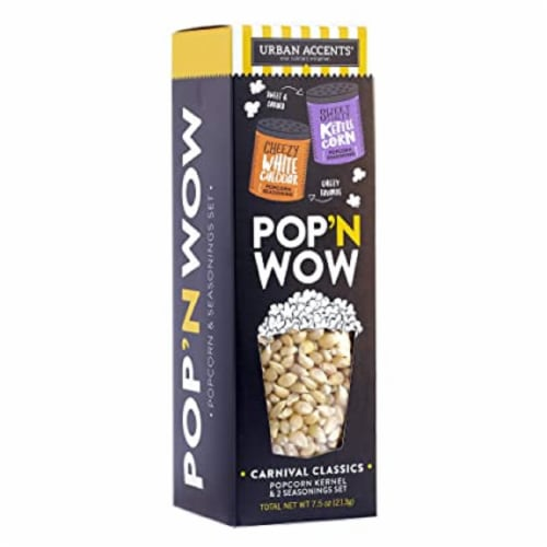 Urban Accents Popcorn Gift Set PopCorn kernel & Two Seasonings, 7oz (Pack of 6) Perspective: front