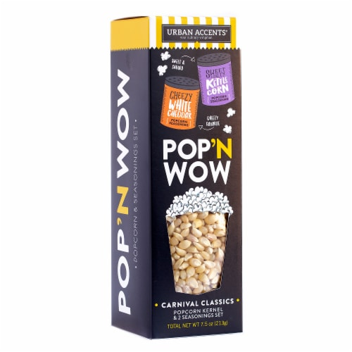 Urban Accents Popcorn Gift Set Fier PopCorn Kernel & Two Seasonings , 7.5 oz (Pack of 6) Perspective: front