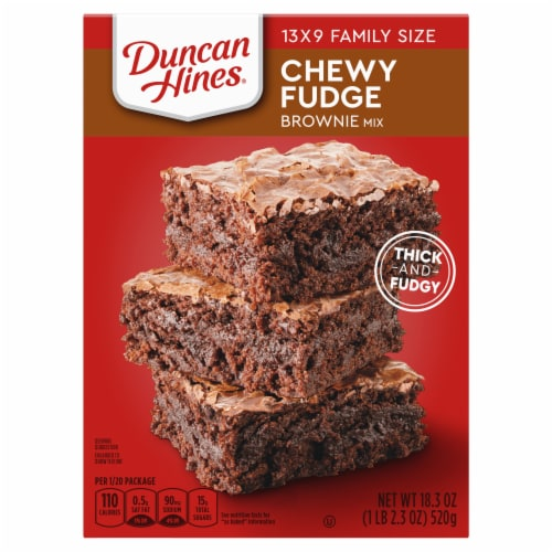 Duncan Hines Chewy Fudge Full Size Brownie Mix Case Sale Perspective: front