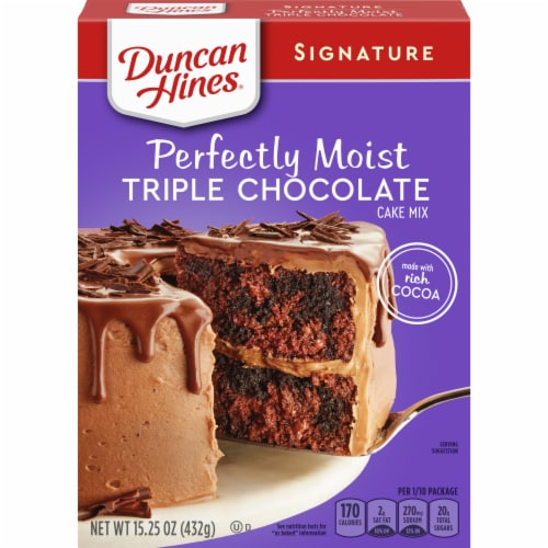 Duncan Hines Signature Perfectly Moist Triple Chocolate Cake Mix Case Sale Perspective: front