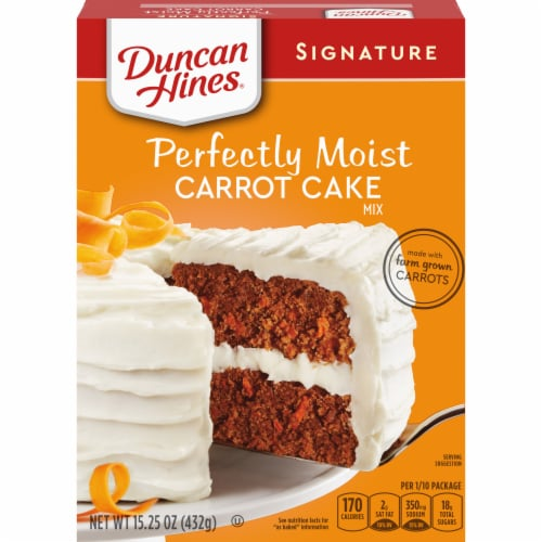 Duncan Hines Signature Perfectly Moist Carrot Cake Mix Case Sale Perspective: front