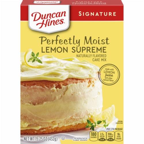 Duncan Hines Signature Perfectly Moist Lemon Supreme Cake Mix Case Sale Perspective: front