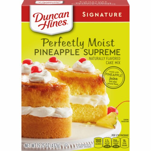 Duncan Hines Signature Perfectly Moist Pineapple Supreme Cake Mix Case Sale Perspective: front