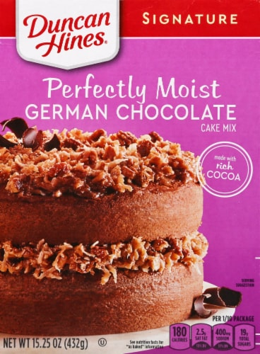 Duncan Hines Signature German Chocolate Cake Mix Case Sale Perspective: front