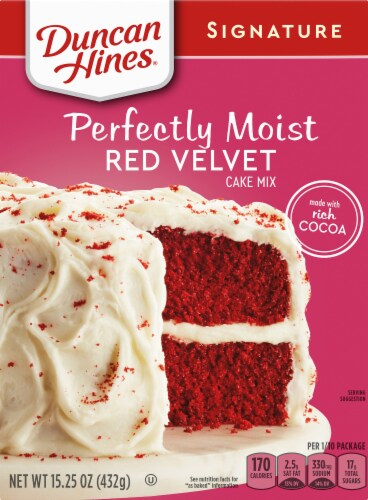Duncan Hines Signature Red Velvet Cake Mix Case Sale Perspective: front