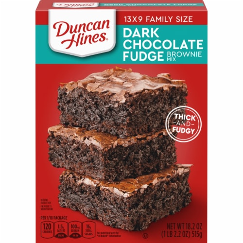 Duncan Hines Dark Chocolate Fudge Brownie Mix Case Sale Perspective: front