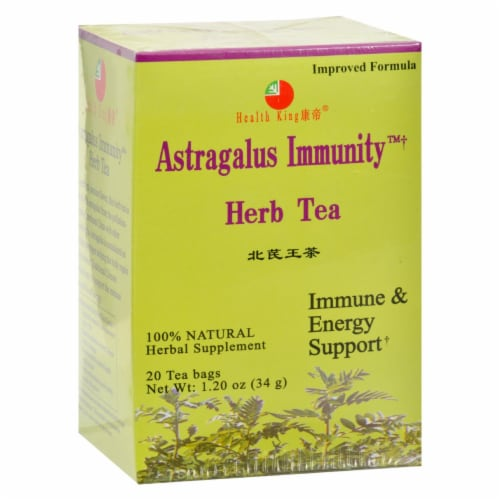 Health King Astragalus Immunity Herb Tea - 20 Tea Bags Perspective: front