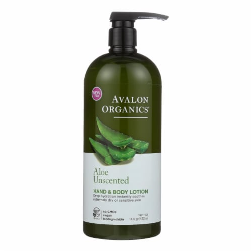 Avalon Organics Hand and Body Lotion Aloe Unscented - 32 fl oz Perspective: front