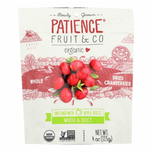 Patience Fruit and Co Whole Cranberries - Dried - Case of 8 - 4 oz Perspective: front