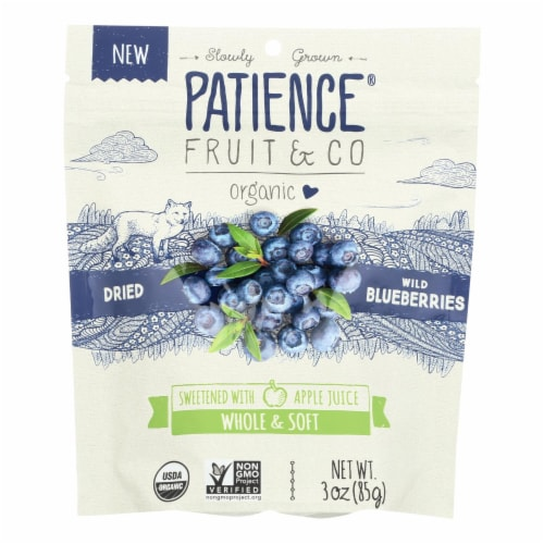 Patience Fruit & Co Organic Dried Wild Blueberries - Case of 8 - 3 OZ Perspective: front