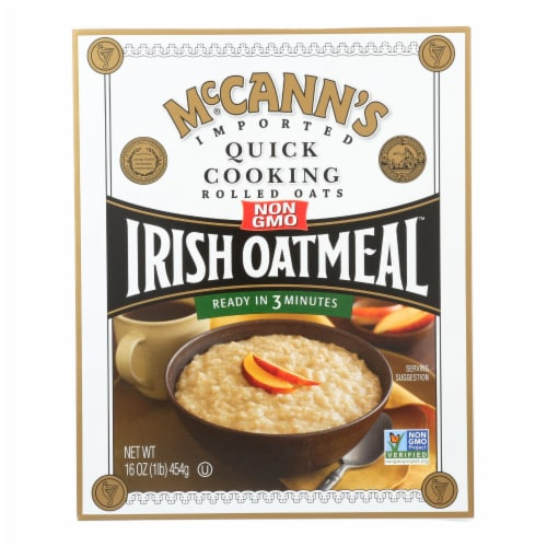 McCann's Irish Oatmeal Quick Cooking Rolled Oats - Case of 12 - 16 oz. Perspective: front