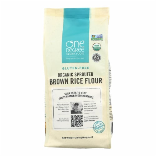 One Degree Organic Foods Sprouted Brown Rice Flour - Organic - Case of 6 - 24 oz. Perspective: front