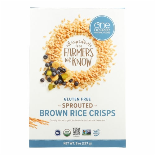 One Degree Organic Foods Sprouted Brown Rice - Crisps Cereal - Case of 6 - 8 oz. Perspective: front